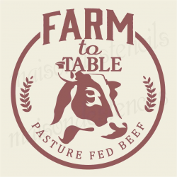FARM to table with cow silhouette 12x12 stencil