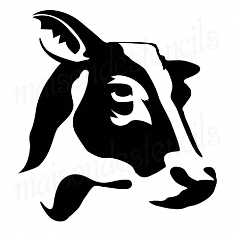 Cow head silhouette profile 12x12 stencil
