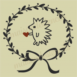 Laurel wraethe with hedgehog heart 12x12 stencil