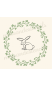 Laurel Wreath Bunny with Heart Branches 12x12 stencil