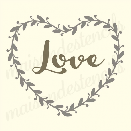 Laurel Wreath Heart Shape With The Word Love 12x12 Stencil