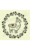 Llama in Laurel Wreath 12x12 Stencil