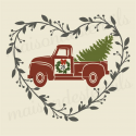 christmas red truck in heart laurel wreath 12x12 stencil