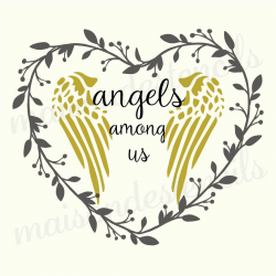 Angels Among Us in Heart Laurel Wreath 12x12 Stencil