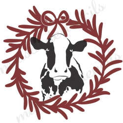 Cow Silhouette in Laurel Wreath 2018 12x12 Stencil