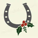 Horseshoe with holly 12x12 stencil