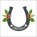 Horseshoe Holly Christmas and stars 12x12 stencil
