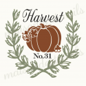 Harvest with pumpkin in laurel wreath 12x12 stencil