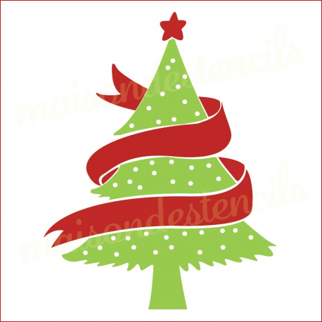 Retro Christmas tree with swag sash 12x12 stencil