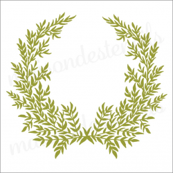 Laurel wreath with leaves 12x12 stencil