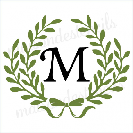 Laurel Wreath double with bow Custom initial 12x12 stencil
