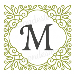 Square scroll monogram Custom initial 12x12 stencil