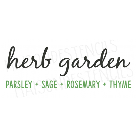 herb garden Parsley Sage Rosemary Thyme 8x18 stencil