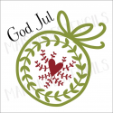 Swedish Heart Ornament God Jul 2019 12x12 stencil