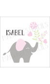 Baby Elephant with flowers custom name 12x12 stencil