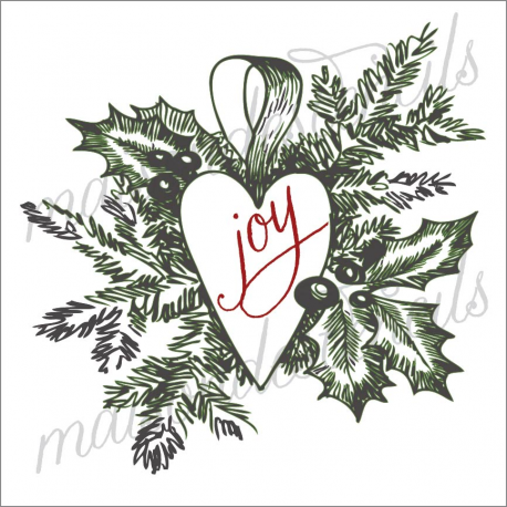 Heart hand sketched Christmas ornament joy 12x12 stencil