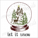 Snow Globe hand sketched let it snow with deer 12x12 stencil