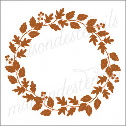 Fall leaves laurel wreath 2019 12x12 stencil