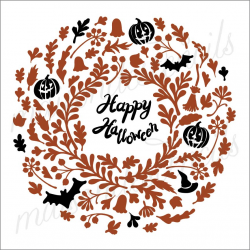 Happy Halloween laurel wreath 2019 12x12 stencil
