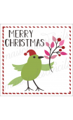 Merry Christmas with bird ... branch ticking outline 12x12 stencil