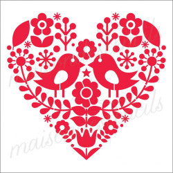 Scandinavian Folkart heart with birds 12x12 stencil