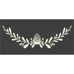 pinecone and laurel flourish 5.5x11.5 stencil