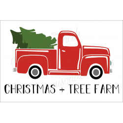 CHRISTMAS TREE FARM with Red Truck 2019 12x18 stencil