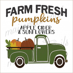 FARM FRESH pumpkins with truck 2019 12x12 stencil