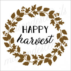HAPPY harvest with fall leaves laurel wreath 12x12 stencil