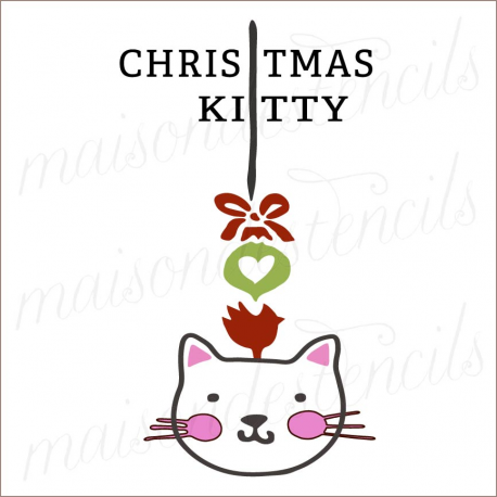 CHRISTMAS KITTY with bird 12x12 stencil