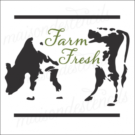 Cow Silhouette Farm Fresh 12x12 stencil