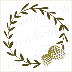 Laurel wreath with pine cone 12x12 stencil