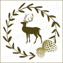 Laurel wreath with deer pine cone 12x12 stencil