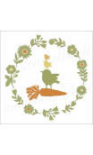 Flower Laurel Wreath with Carrot & 3 Birdies 12x12 stencil