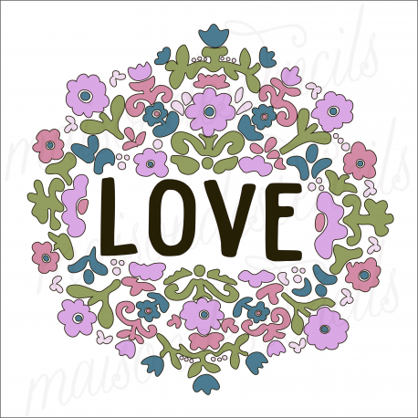 LOVE with flowers 2020 12x12 stencil