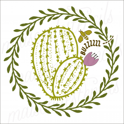 Cactus in Laurel Wreath with BEE 12x12 stencil