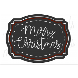 Merry Christmas Script Label 2020 12x18 stencil