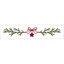 Christmas pine Laurel wreath garland with a star n bow 4x18 stencil