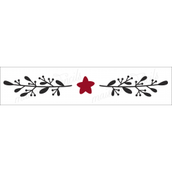 Christmas Laurel wreath garland with a star 4x18 stencil