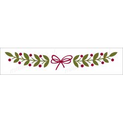 Christmas Holly border with a bow 4x18 Stencil