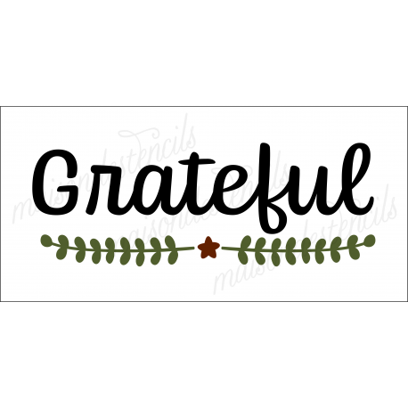 Grateful with Laurel 5.5 x 11.5 Stencil