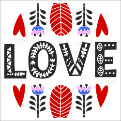 LOVE with folk art Flowers Scandinavian 12x12 stencil