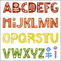Alphabet with folk art Flowers Scandinavian 12x12 stencil