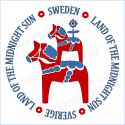 SWEDEN land of the midnight SUN Dala Horses 12 x 12 stencil