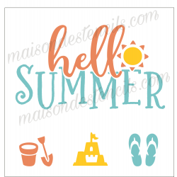 hello SUMMER with Sand Castle and Flip Flops 12x12 inch Stencil