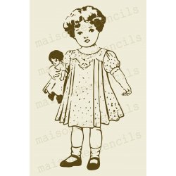 Vintage Little girl and her dolly sketch stencil 12x18 inch Stencil